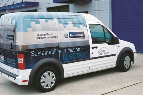 ThyssenKrupp recently took delivery of an all-electric Transit Connect. Armstrong is enthusiastic about its potential.
