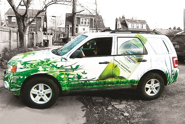 With company-provided vehicles the fleet can use the vehicles to promote the company brand. Employees often resist wrapping their personal vehicles. Photo courtesy of JMR Graphics.