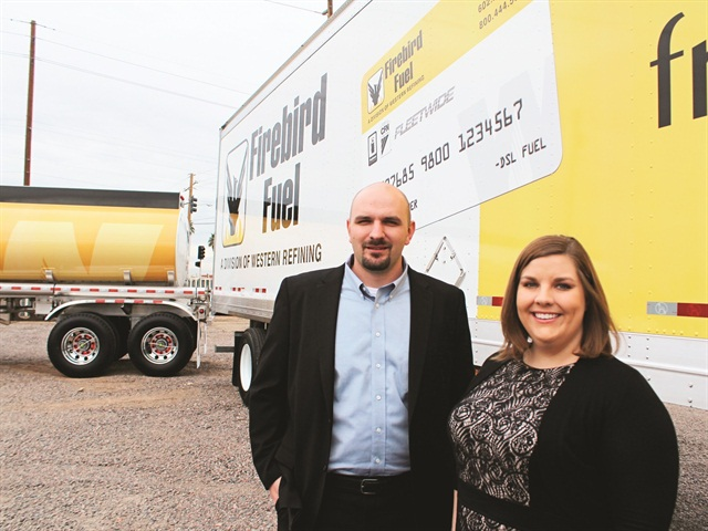 Jared Hanis (left) and Kristen Signor, asset maintenance administrator, work closely to drive down fleet costs.