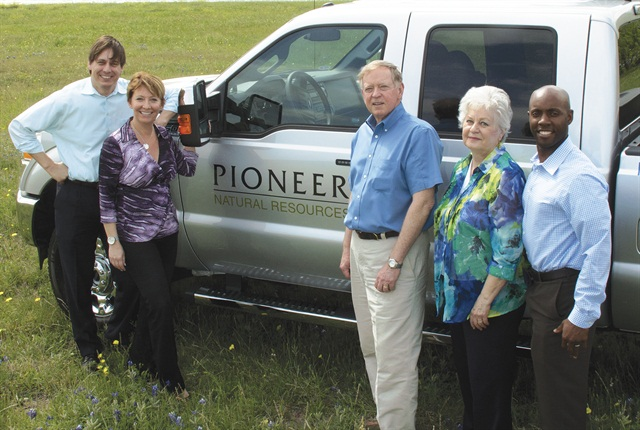 Established by Corporate Fleet Manager Anthony Foster (far left) in 2011, Pioneer Natural Resource's fleet team consists of (l-r) Lisa Woods, Ed Hance, Kate Walden, and Greg Edney.