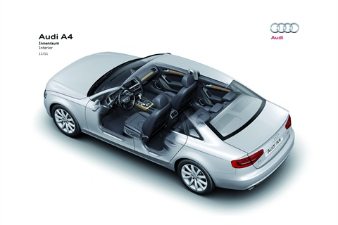 The Audi A4 features a new interior with reconfigured climate and infotainment controls and Nappa leather.