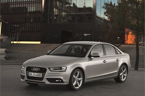 The 2013-MY Audi A4. The A4 features a redesigned exterior.