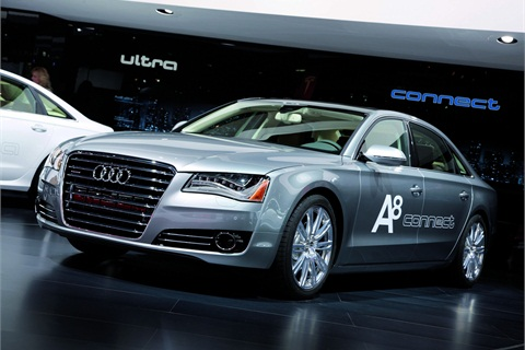 The Audi A8 at the North American International Auto Show in Detroit.