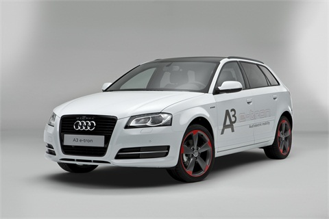 The A3 e-tron features a fully electric powertrain with a 26kw lithium-ion battery, zero driving emissions, 199 lb.-ft. torque, a battery range of approximately 90 miles, and a top speed of 90 mph.