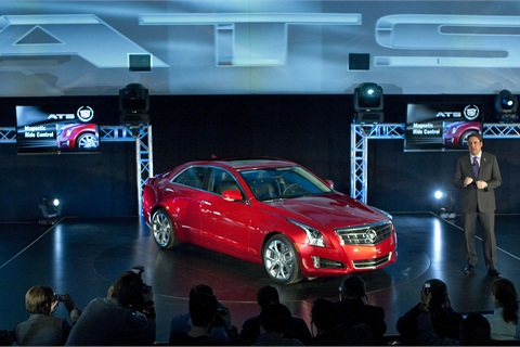 General Motors North America President Mark Reuss introduces the 2013 Cadillac ATS compact luxury sports sedan at a special event prior to the start of the North American International Auto Show Sunday, January 8, 2012 in Detroit, Michigan. The Cadillac ATS goes on sale this summer in North America. (Photo by John F. Martin for Cadillac)