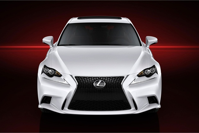 The next-generation IS features a new headlight cluster style and daytime running lights below them.