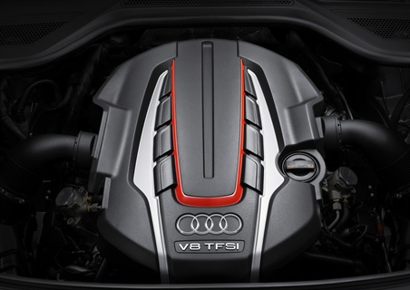 Audi's 4.0L TSFI V-8 twin-turbo engine is 25 percent more fuel efficienct than the previous V-10 model.