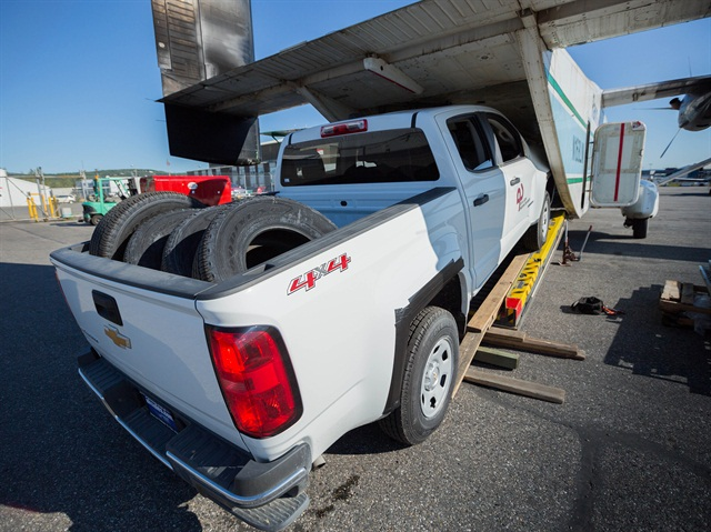 Photo of 2015 Chevrolet Colorado being loaded on to a Shorts 330 Sherpa aircraft for ASRC courtesy of GM.