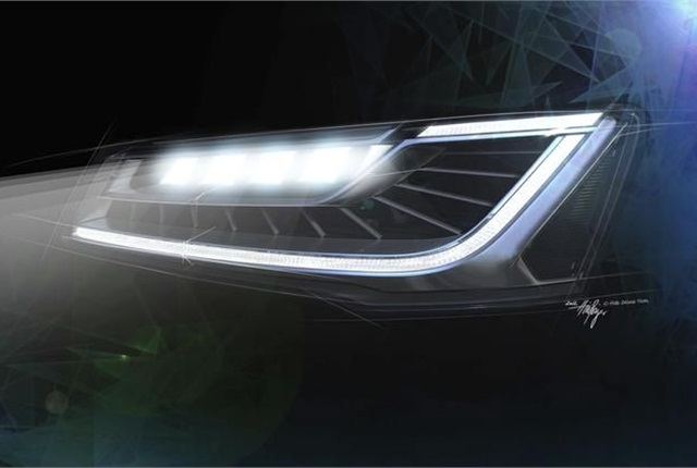 Audi's Matrix LED headlights can automatically dim and illuminate different sections of the reflector in response to road and lighting conditions. Photo courtesy Audi.