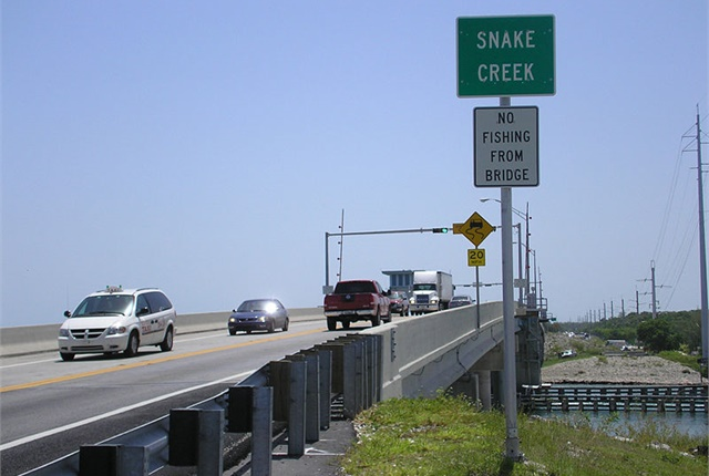 Photo of the Snake Creek bridge in the Florida Keys via Wikimedia.