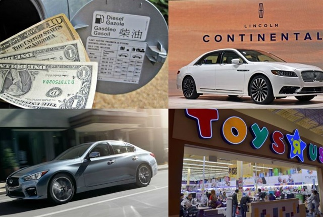 (Clockwise l. to r.) IRS lowering the mileage reimbursement rate, 2017 Lincoln Continental pricing, Toys 'R' Us logistics director arrested for fleet card fraud, Infiniti 2016 Q50 pricing.