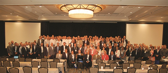 """Posing for a """"class"""" photo for this year's Global Fleet Conference in Miami were 98 of the more than 200 attendees.Photo by Chris Wolski."""