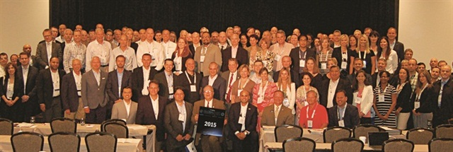 """Attendees of the 2015 Global Fleet Conference in Miami pose for a """"class photo."""" The Global Fleet Conference will be returning to Europe in 2016. Photo: Chris Wolski"""