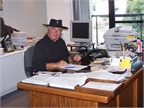 Ed at his desk on Halloween.