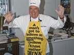 The apron says it all. Ed enjoyed an icy beverage, only more so when