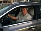 Automotive Fleet Editor Mike Antich behind the wheel of a Chrysler 300